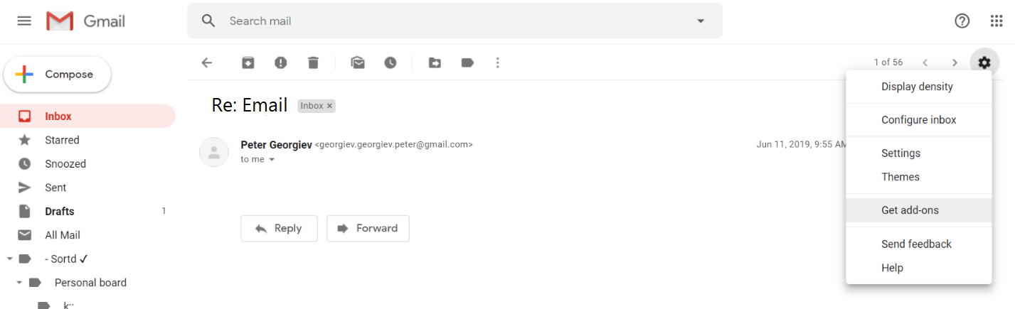 Step 1) Go to Gmail in your browser. Than select the settings wheel and click on the 'Get add-ons' button