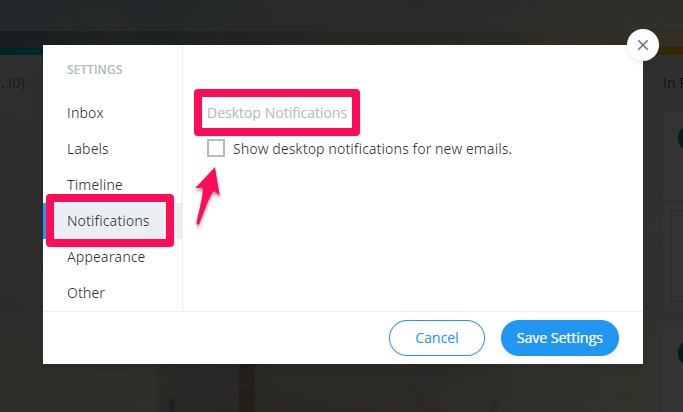 Inbox Zero in Gmail Turn Off Desktop Notifications